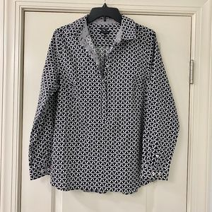 Talbots Clubs Novelty Print 1/2 Button Up Popover